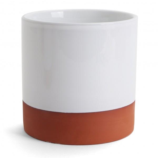 "Round Desktop Container - 5.75""H x 5.25"" Dia.- Terra/White"
