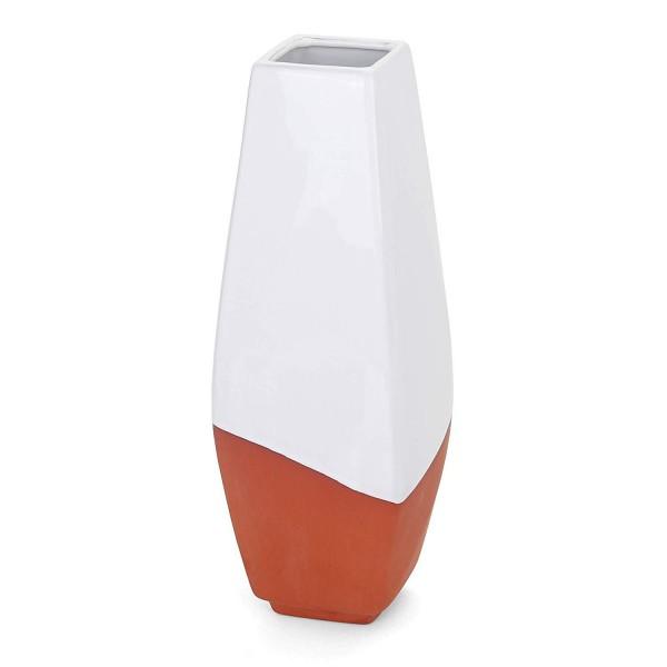 "White Geometric Vase - 11.25""H x 4""W x 4""D -  Abbott"