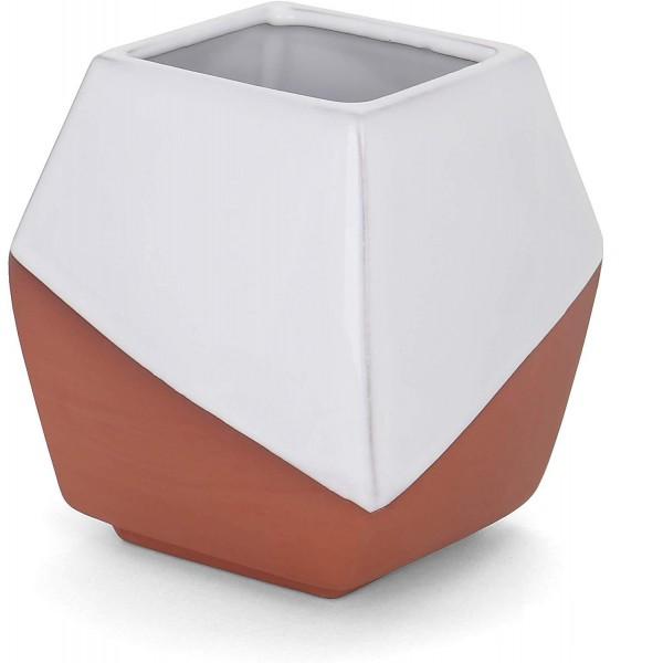 "White Geometric Container - 4.5""H x 4.25"" W x 4.25""D - Costello"
